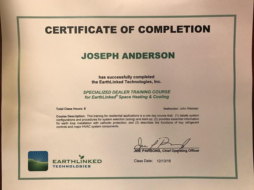 Geothermal certificate jp anderson well & pump